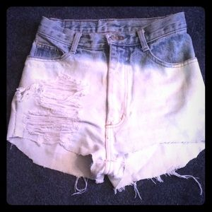 wave clothing Shorts - Super high waisted two toned denim short shorts